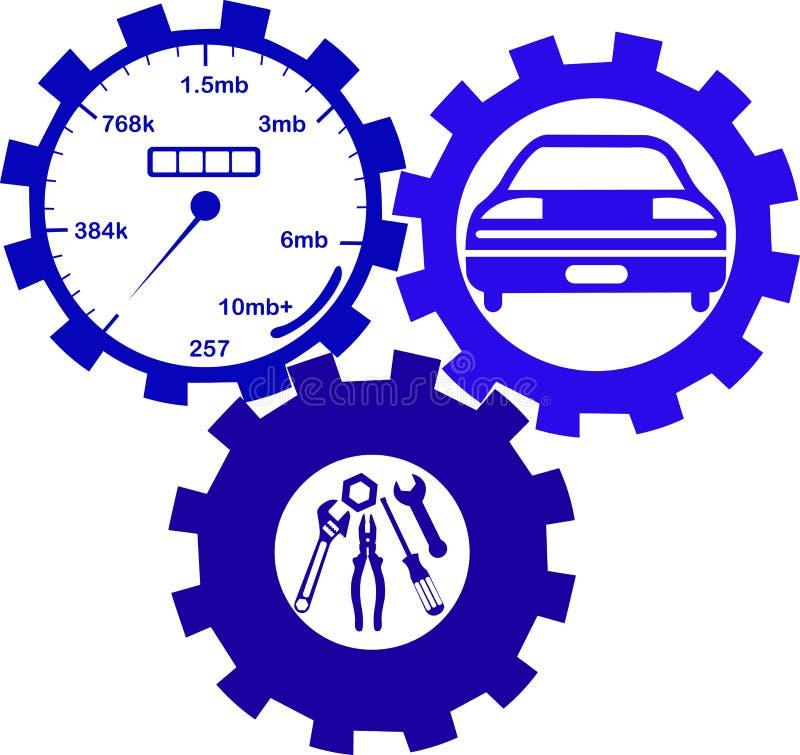 Bilmekaniker- och servicehjälpmedel vektor illustrationer