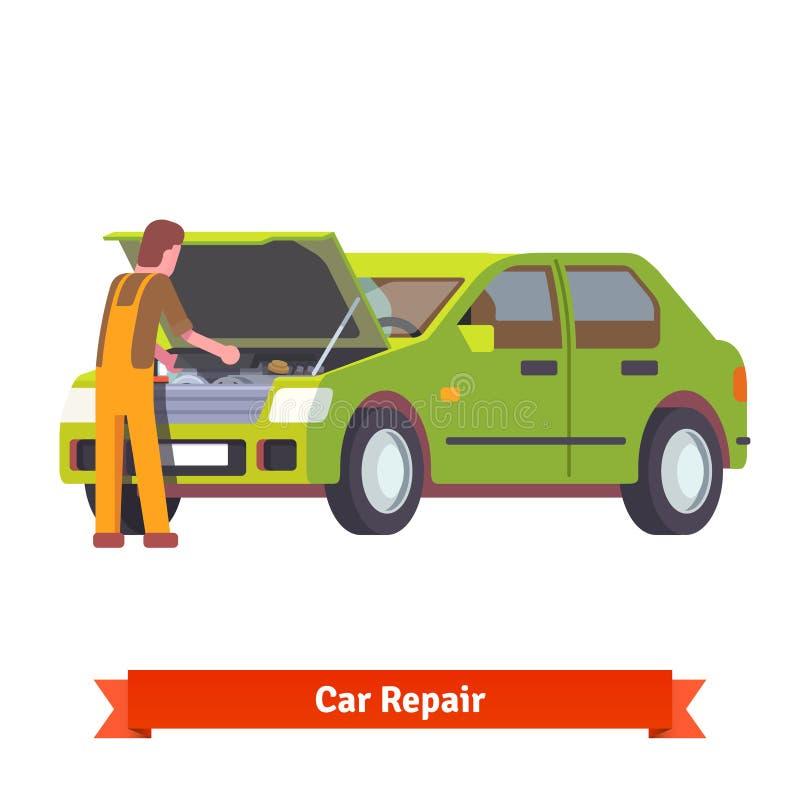Bilmekaniker som kontrollerar motorn på bilservice royaltyfri illustrationer