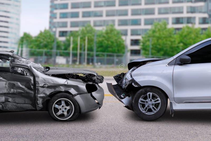 Bilolycka på vägen royaltyfri bild