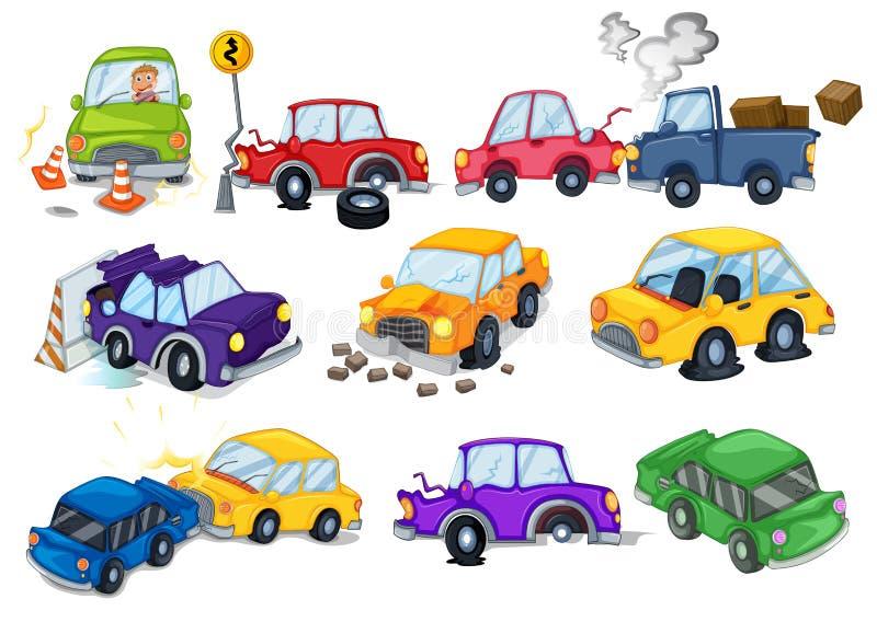Bilolyckor stock illustrationer
