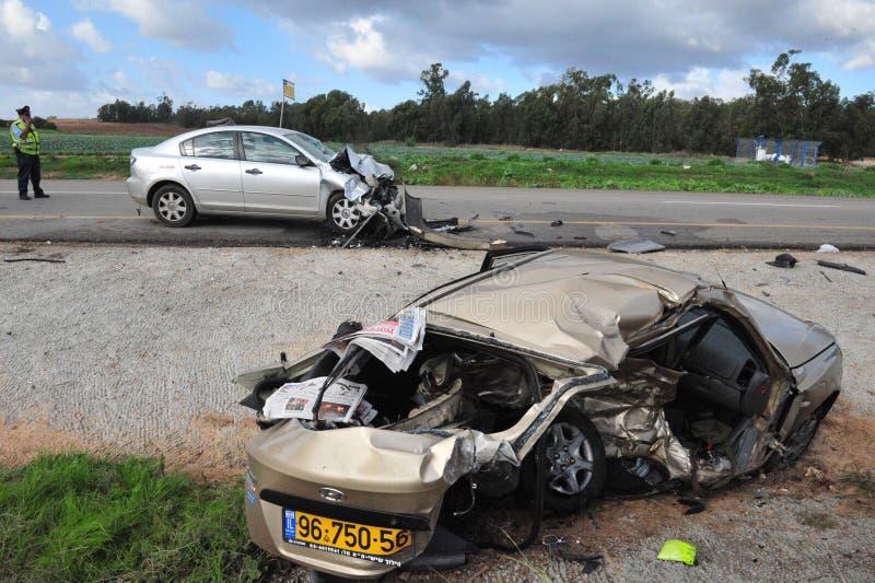 Bilolyckor i Israel royaltyfri foto