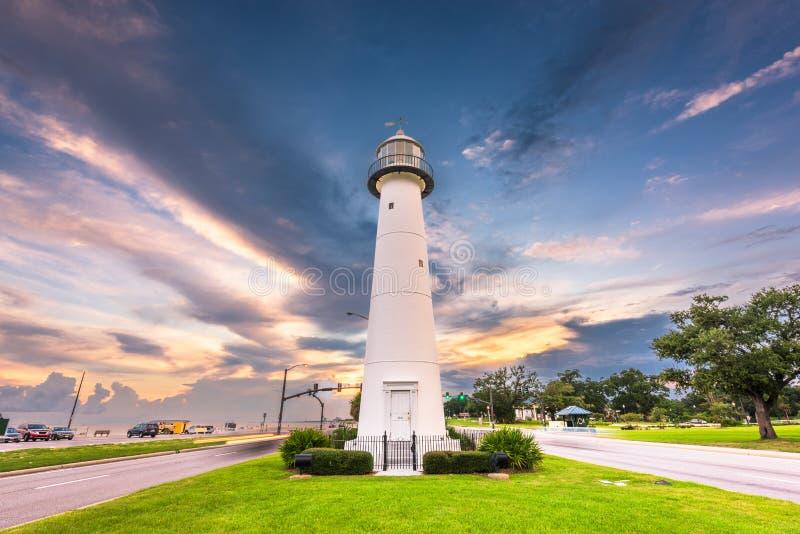 Biloxi, de Mississippi de V.S. bij Biloxi-Vuurtoren stock fotografie