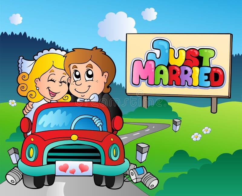 bilpar som bara kör, att gifta sig royaltyfri illustrationer