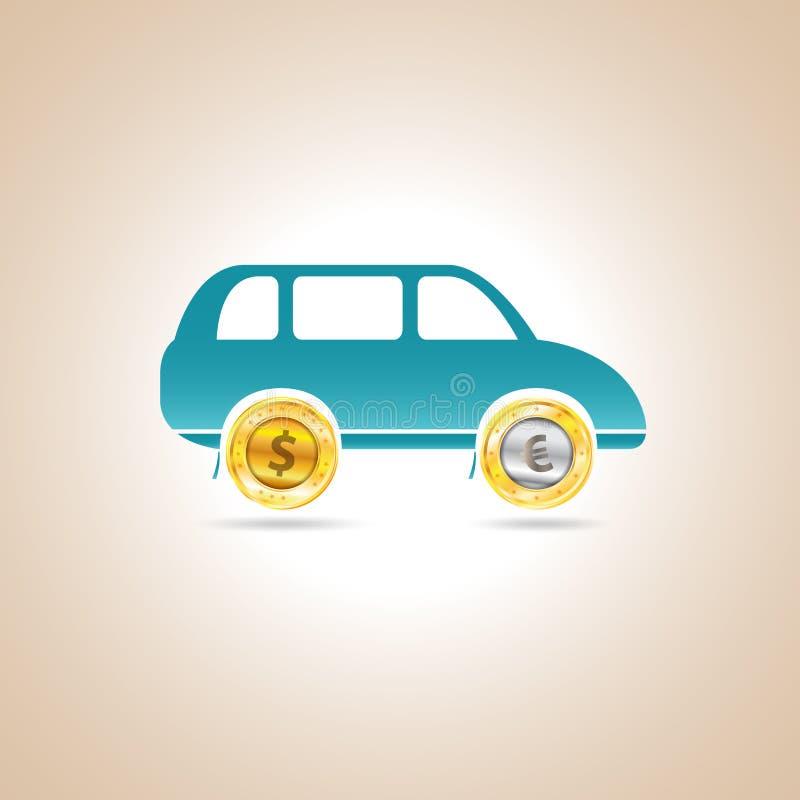 Bilpengar också vektor för coreldrawillustration royaltyfri illustrationer
