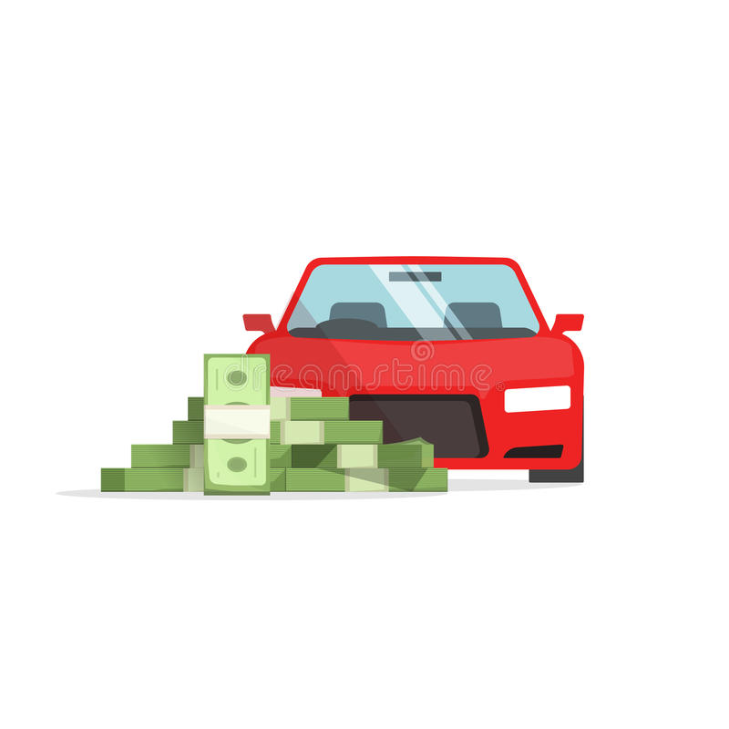 Bilpengarbegrepp av kostnader, auto besparingar, finansiell framgång, lån, stock illustrationer