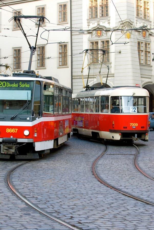 bilprague trolley arkivfoto
