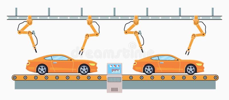 Bilproduktionslinjebegrepp E stock illustrationer
