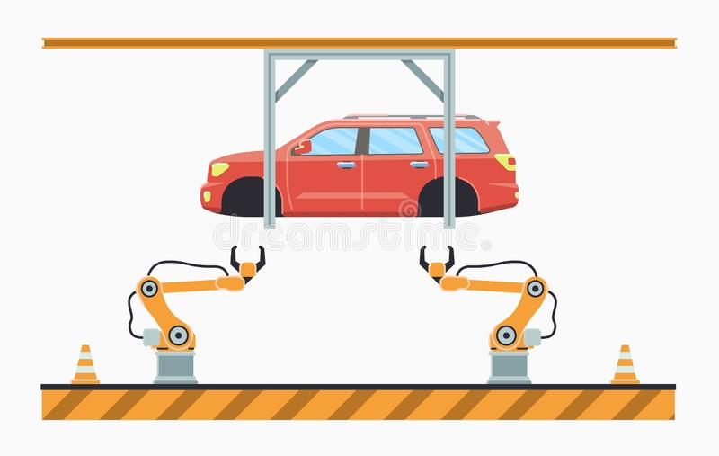 Bilproduktionslinjebegrepp E royaltyfri illustrationer