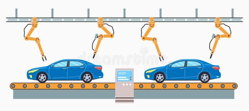 Bilproduktionslinjebegrepp E vektor illustrationer