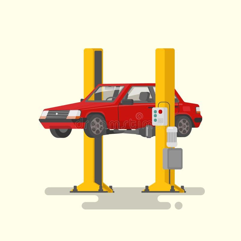 Bilreparation Bil lyft på autolifts också vektor för coreldrawillustration vektor illustrationer