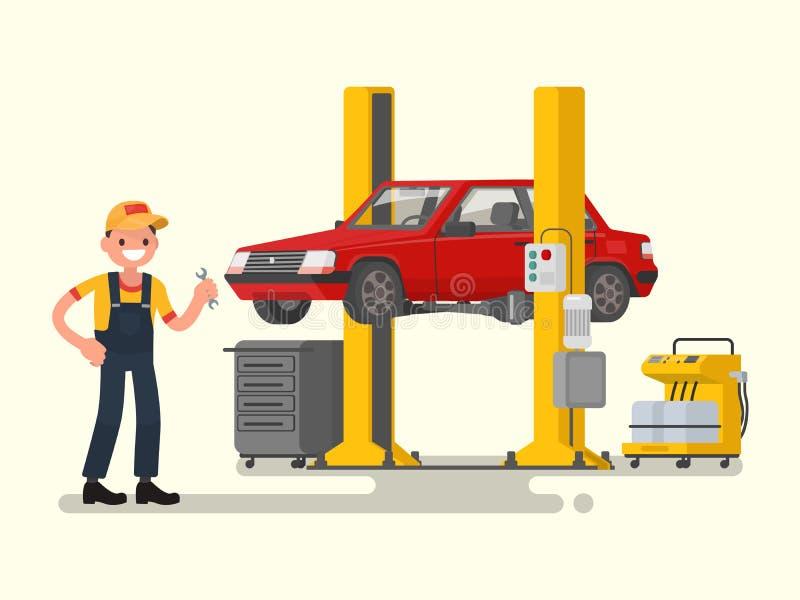 Bilreparation Den auto mekanikern nära bilen lyftte på autolifts Vect royaltyfri illustrationer