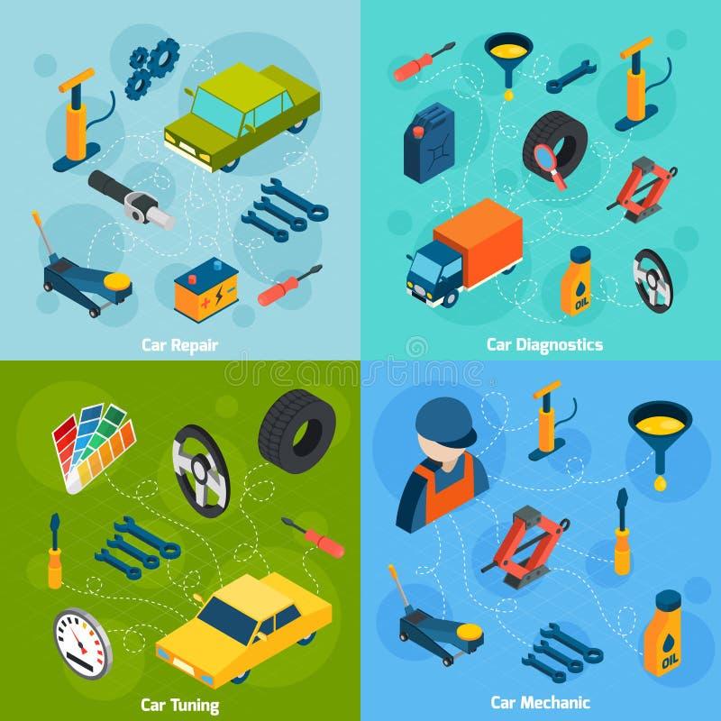 Bilreparation och trimma isometriska symboler royaltyfri illustrationer