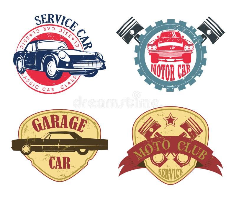 Bilreparations- eller servicelogo, garage och motorsymbol royaltyfri illustrationer