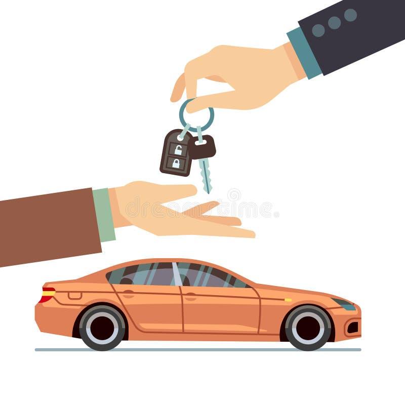 Bilsäljarehand som ger tangent till köparen Köpa eller hyra affärsvektorbegrepp stock illustrationer