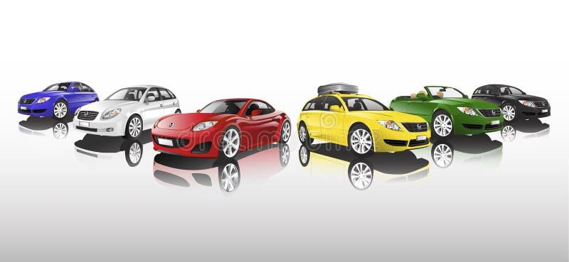 Bilsamlingsvektor royaltyfri illustrationer