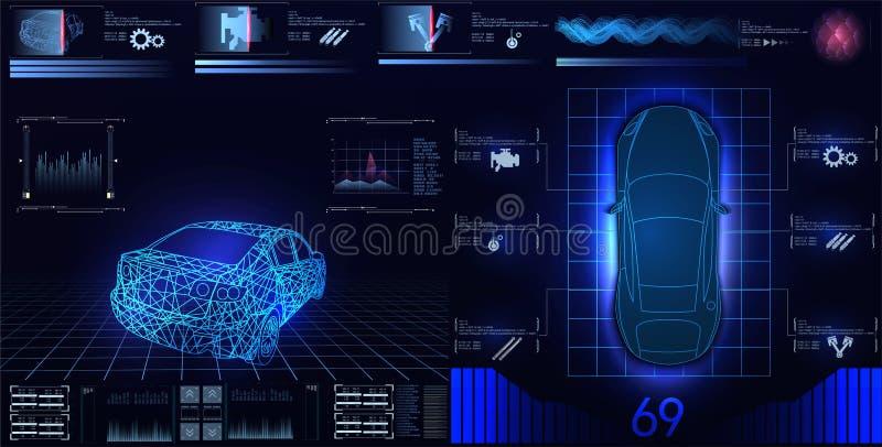 Bilservice i stilen av HUD, den infographic uien för bilar, analys och diagnostik i huden utformar, den futuristiska användargrän vektor illustrationer