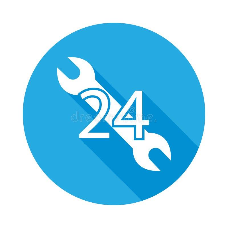 bilservice, 24 timmar plan symbol med lång skugga Beståndsdel av illustrationen för bilreparationsservice Högvärdig kvalitetssymb royaltyfri illustrationer
