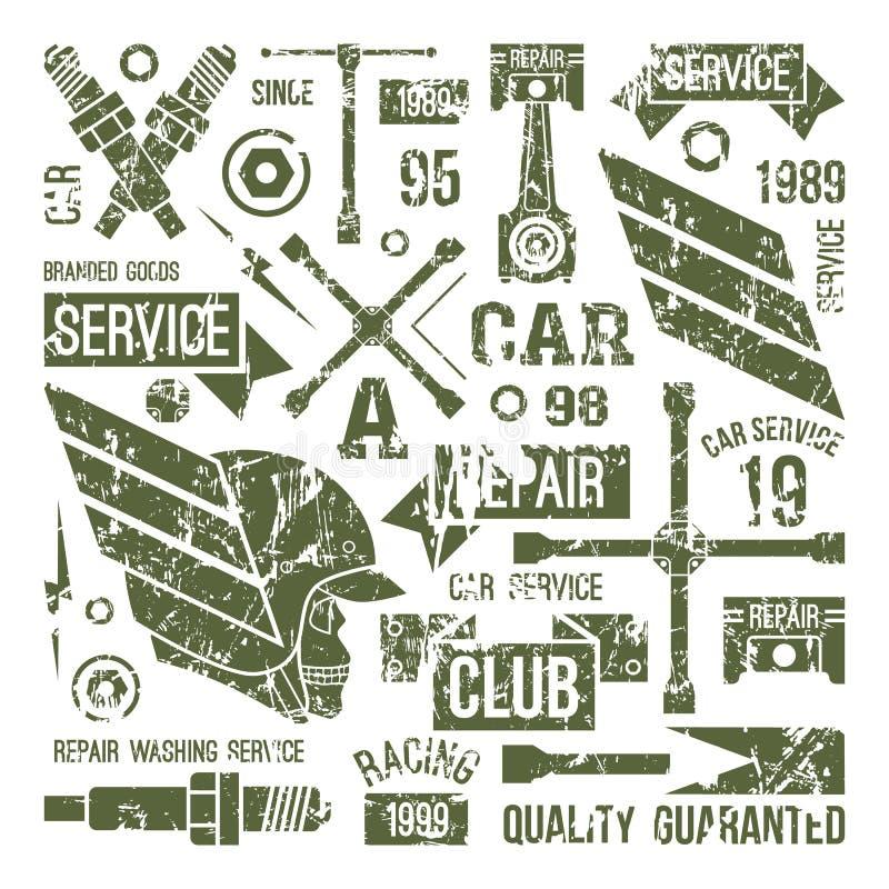 Bilserviceemblem i retro stil vektor illustrationer
