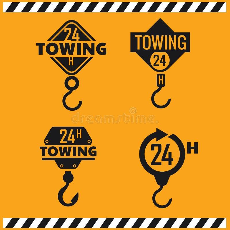 Bilsläpservice, 24 timmar, lastbil, isolerad symbol eller logo på gul bakgrund, automatiskservice, bilreparation stock illustrationer