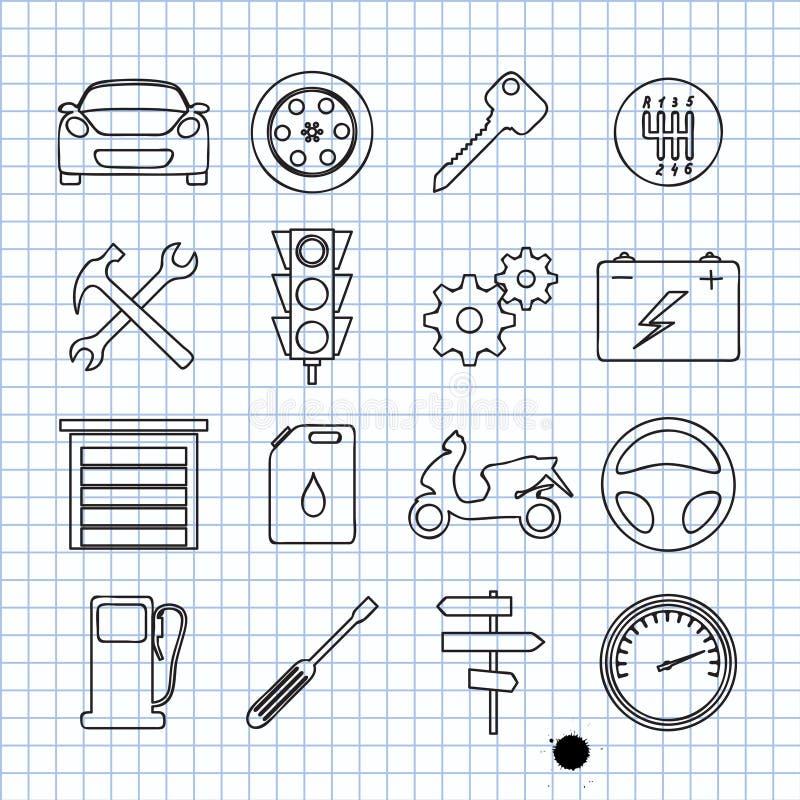 Bilsymboler royaltyfri illustrationer