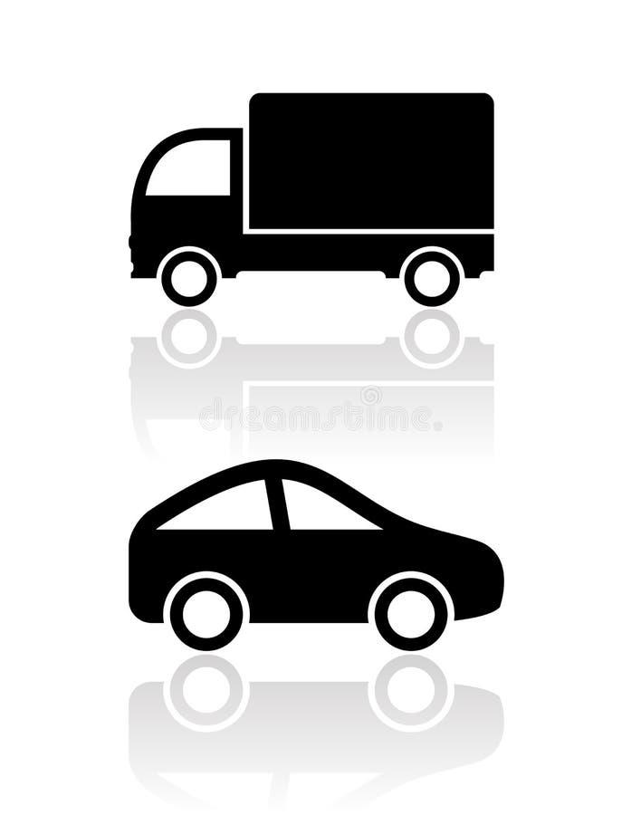 Bilsymboler vektor illustrationer