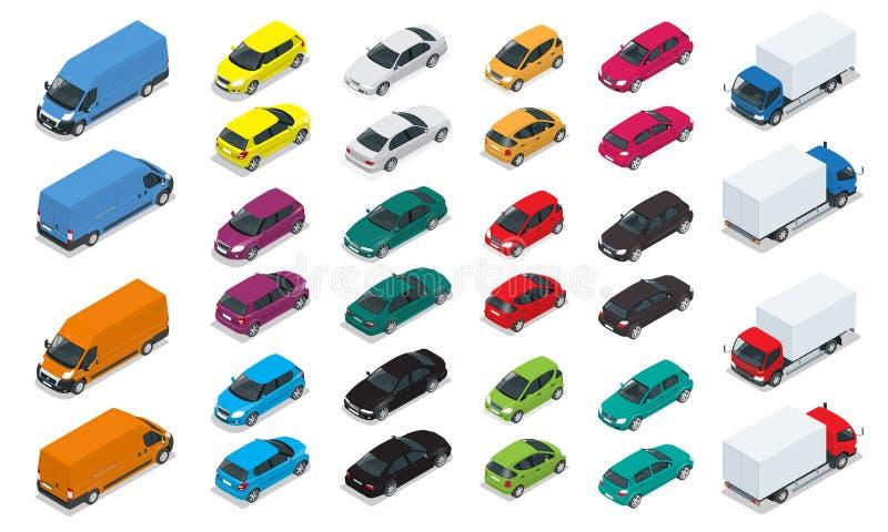Bilsymboler Plan isometrisk högkvalitativ transport för stad 3d Sedan skåpbil, lastlastbil, halvkombi Uppsättning av stads- allmä stock illustrationer
