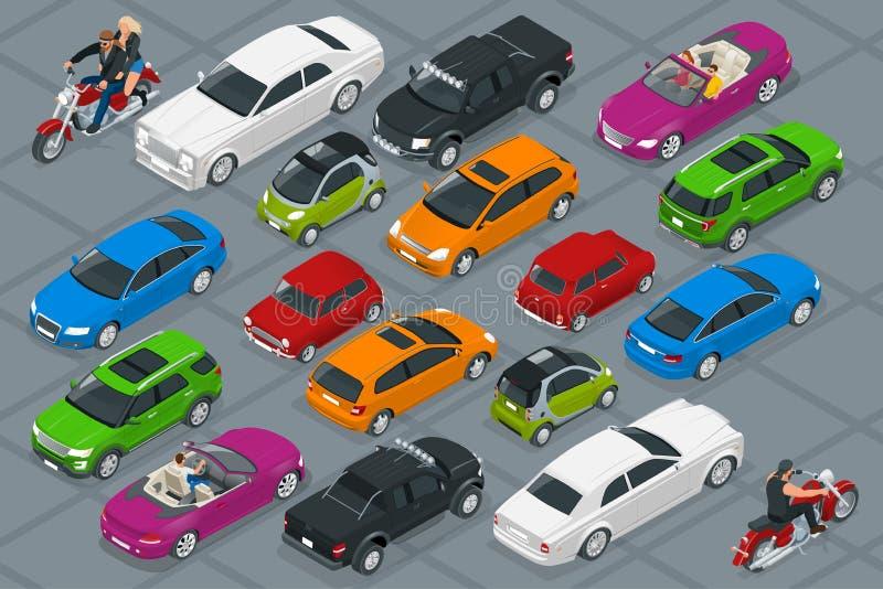 Bilsymboler Plan isometrisk högkvalitativ transport för stad 3d Uppsättning av stads- allmänhet- och frakttransport vektor illustrationer