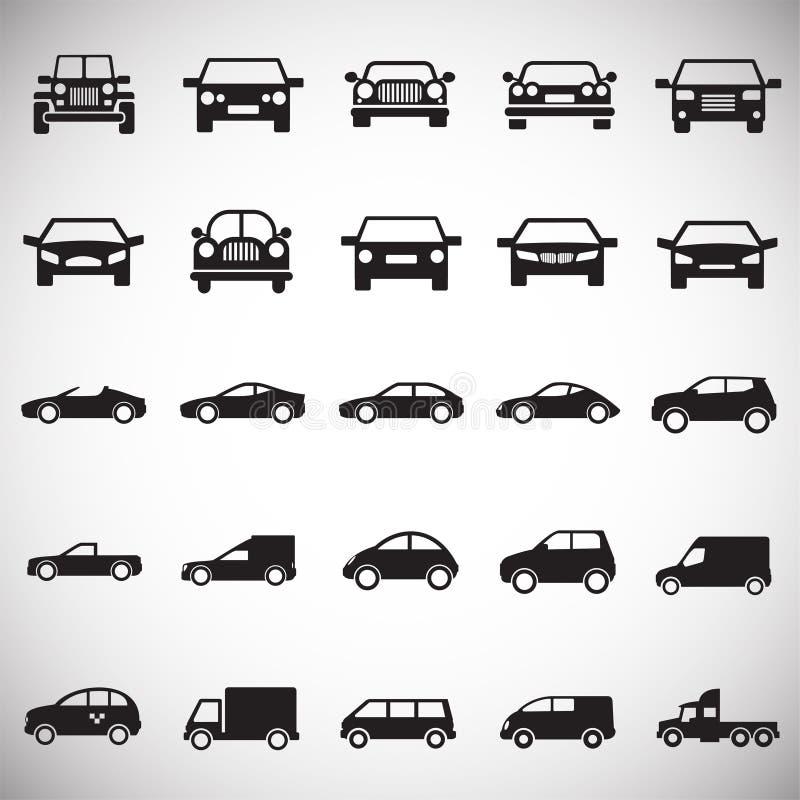 Bilsymboler ställde in på vit bakgrund för diagrammet och rengöringsdukdesignen, modernt enkelt vektortecken för färgbegrepp för  stock illustrationer