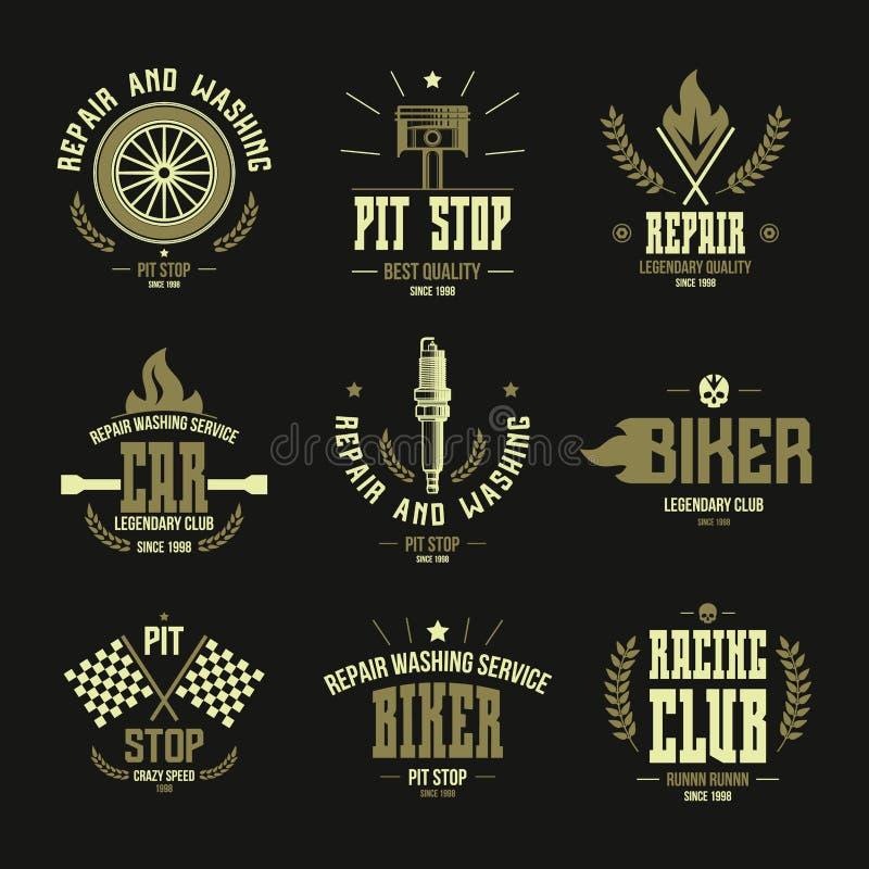 Biltävlingar och serviceemblem och logo royaltyfri illustrationer