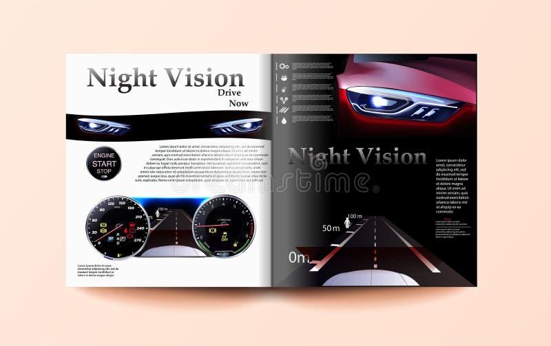 Biltidskriftmall, den röda bilen mot bakgrunden av bilinstrumentbrädan bil för nattvision royaltyfri illustrationer