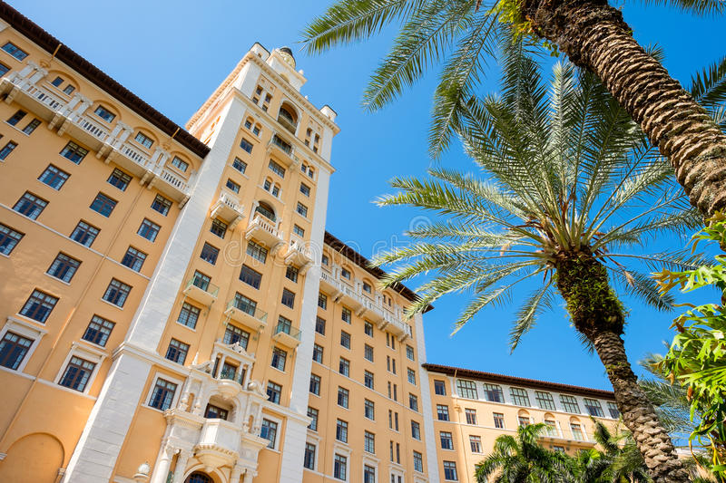 Biltmore Hotel. CORAL GABLES, FL USA - MAY 23, 2014: The historic and luxurious Spanish style Biltmore Hotel built in 1925 located in Coral Gables stock image