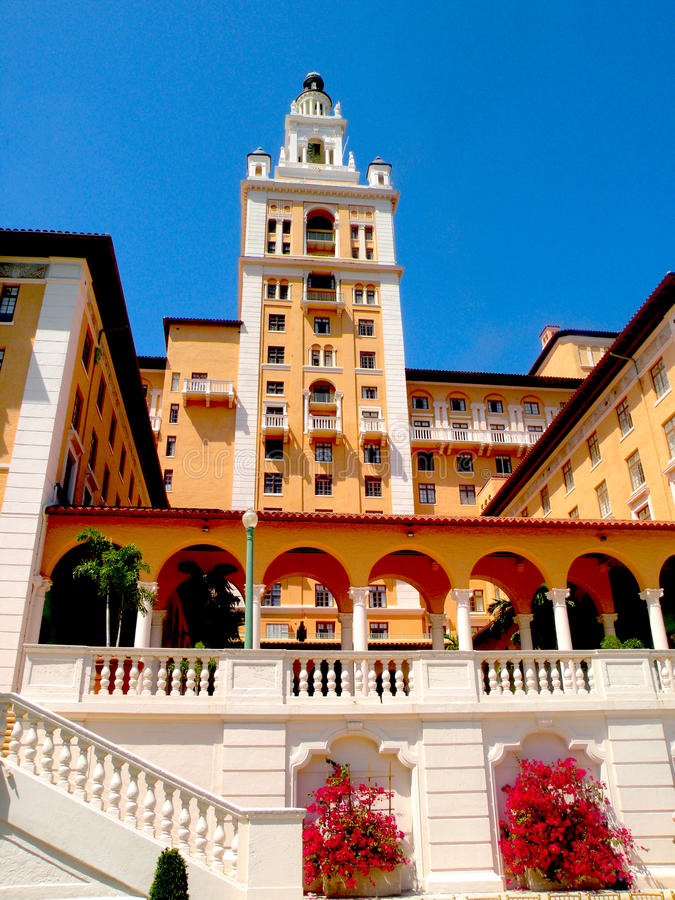 Biltmore-Hotel, Nachtaufnahme Coral Gables Florida stockbild