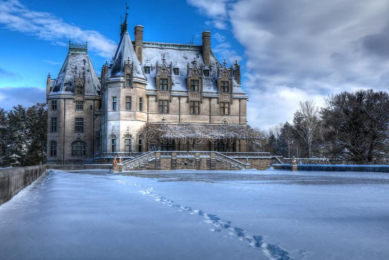 Biltmore House From The Tea Room In Snow. Frigged cold this morning with high winds had me run for cover at the Biltmore`s Tea House. Well, love the capture, but royalty free stock photography
