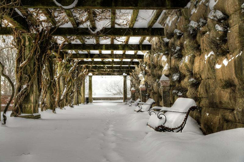 Biltmore's Arbor In Snow. Biltmore's Chinese wisteria arbor is stunning all covered in a veil of white. Benches that gives guest a seat during hot summer days royalty free stock image