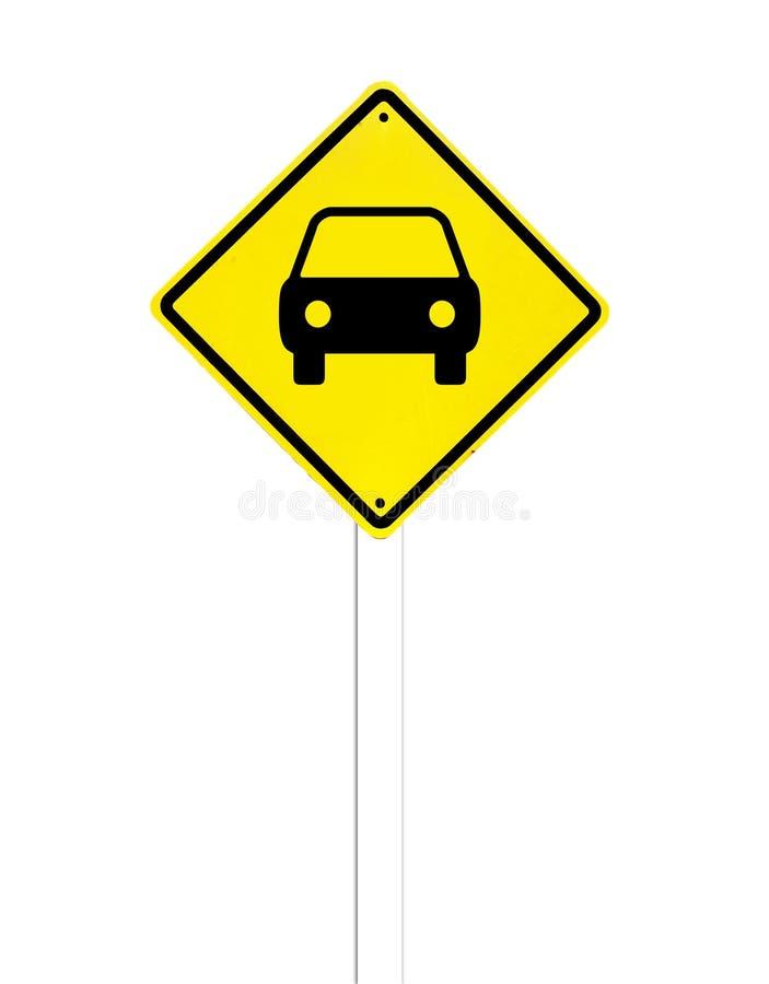 Biltrafiktecken på en vit arkivbild