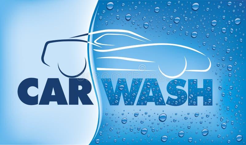 Biltvättbegrepp med många vattendroppar vektor illustrationer
