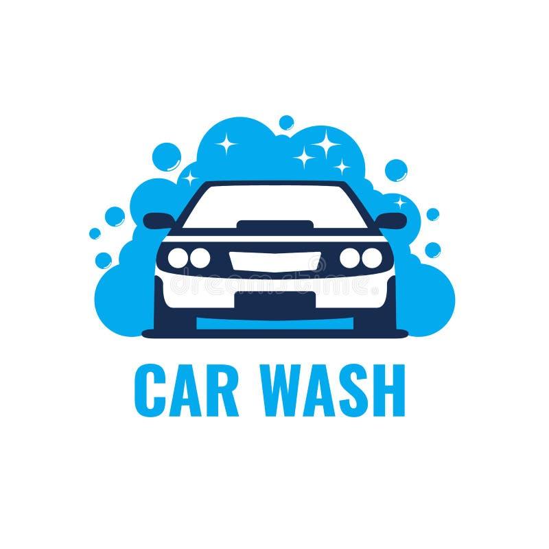 Biltvättlogo på ljus bakgrund Ren bil i bubblor och vatten royaltyfri illustrationer