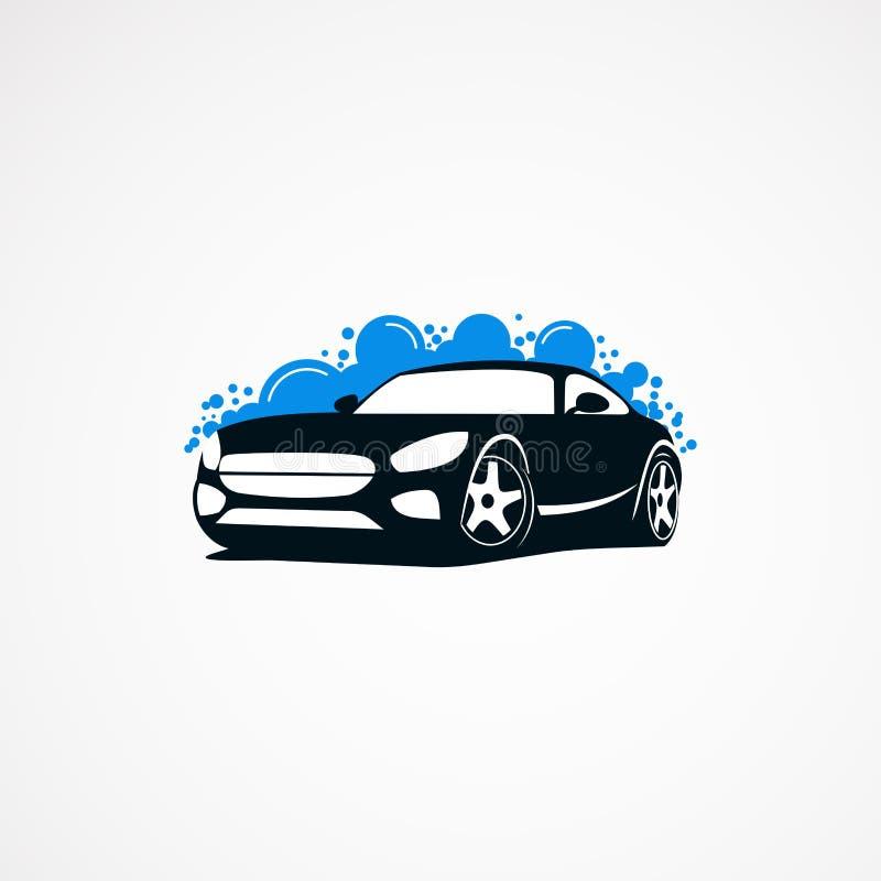 Biltvättlogoen planlägger den moderna begrepp, symbolen, beståndsdelen och mallen för företag stock illustrationer