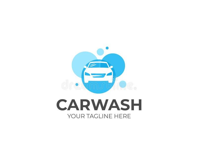Biltvättlogomall Auto washvektordesign royaltyfri illustrationer