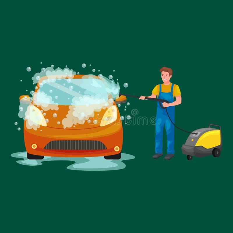 Biltvättservice, auto lokalvård med vatten och tvål royaltyfri illustrationer