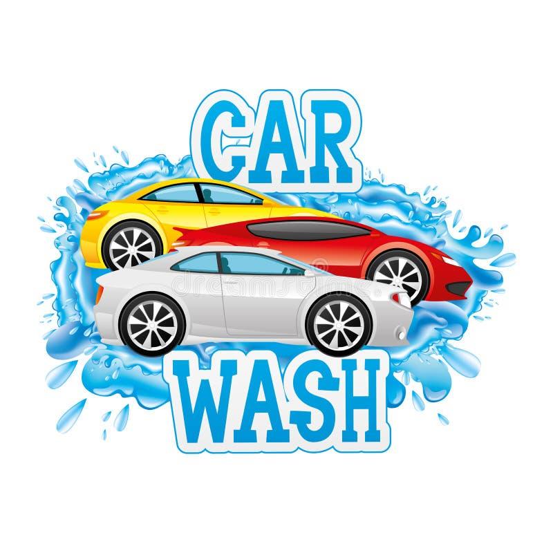 Biltvätttecken stock illustrationer