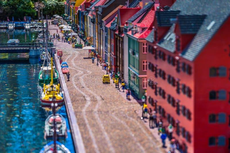 Bilund,丹麦- 2017年4月30日:缩样在Legoland, Bilund 图库摄影