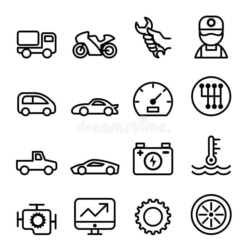 Bilunderhåll och reparationssymbolen ställde in i den tunna linjen stil royaltyfri illustrationer