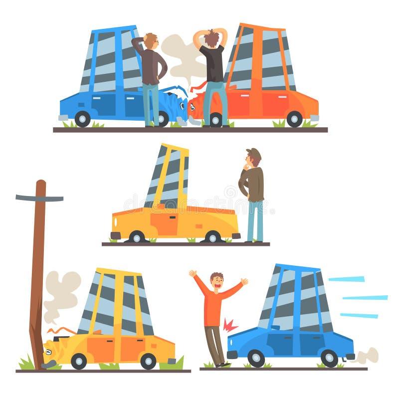 Bilvägolycka resultera i trans.skadeuppsättningen av stiliserade tecknad filmillustrationer vektor illustrationer