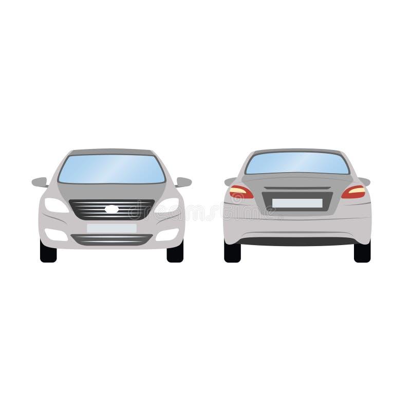 Bilvektormall på vit bakgrund Isolerad affärssedan grå sedanlägenhetstil tillbaka främre sikt för sida royaltyfri illustrationer