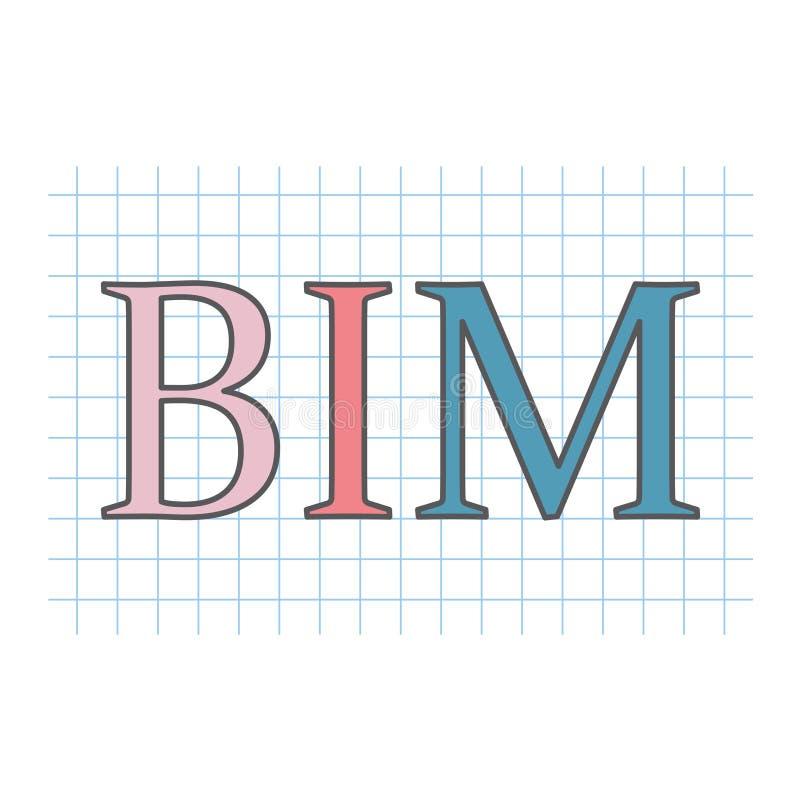 BIM大厦在方格的纸板料写的信息塑造 向量例证