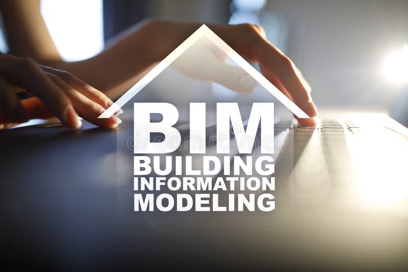 BIM -塑造在虚屏上的修造的信息概念 免版税库存图片