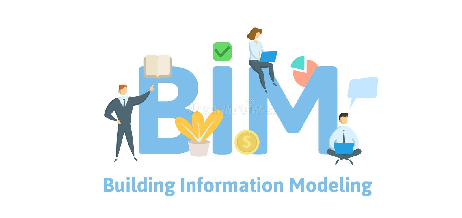 BIM, building information modeling. Concept with keywords, letters and icons. Flat vector illustration. Isolated on stock illustration