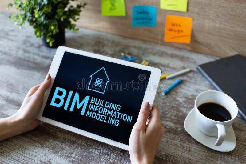 BIM - Building information modeling concept on screen. stock images