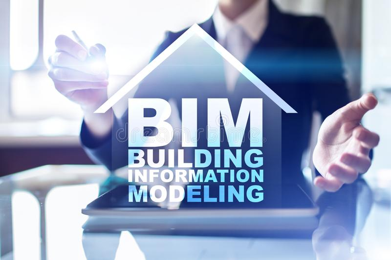 BIM - Building information modeling. Industrial and technology concept. stock photos